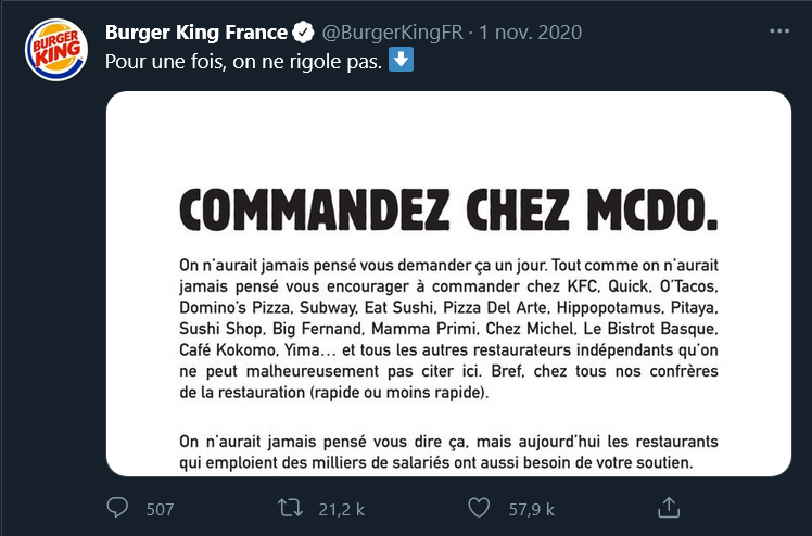 Tweet de Burger King